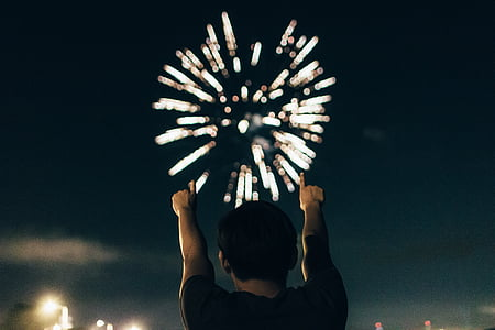 person, black, shirt, pointing, fireworks, display, hair