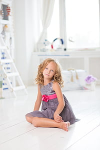 girl, sitting, young, room, white, cute, happy