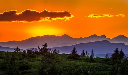 sunset, trees, landscape, mountains, nature, sun, horizon