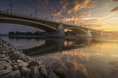 gris, puente, azul, nublado, cielo, puesta de sol, Puente de arco acero