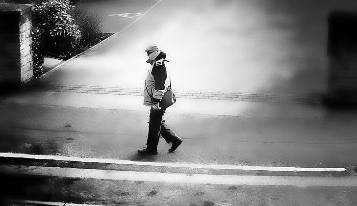 vianants, persones, home, a peu, camí, destinació, viatge
