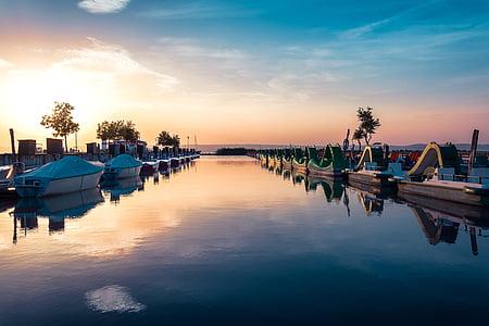 ηλιοβασίλεμα, θαλάσσιο ποδήλατο, Λίμνη, Podersdorf π.μ, το καλοκαίρι, Ενοικιαζόμενα, ηλιοφάνεια