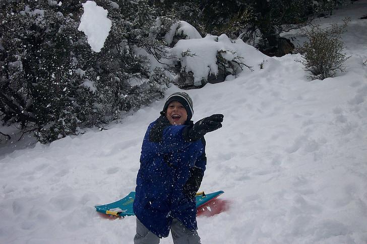 lekfull, snö, snöboll, barn, skratt