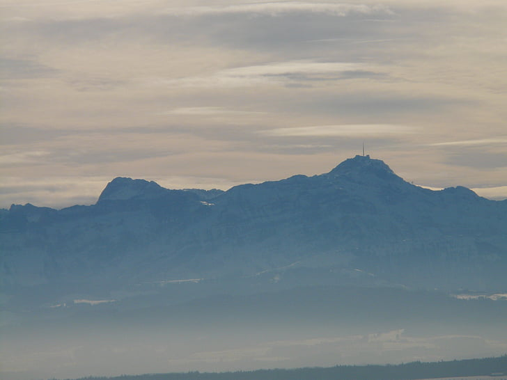 Säntis, гори, Альпійська, туман, безбарвний, abendstimmung, Боденське озеро