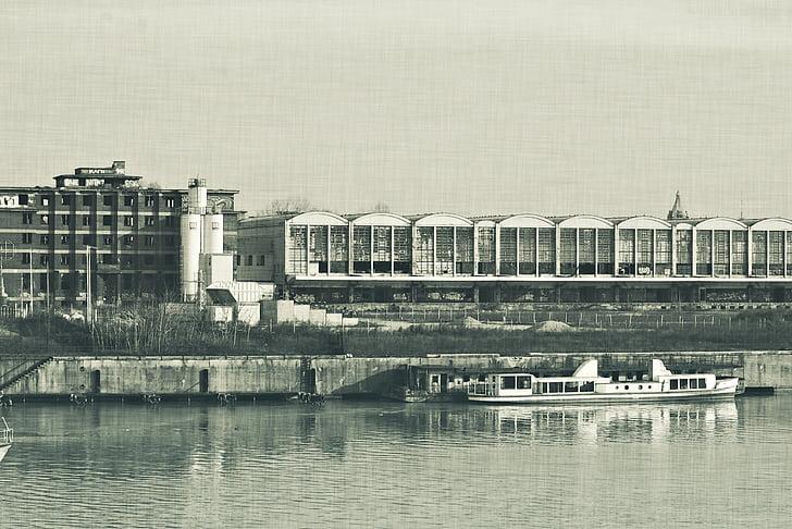 factory, river, ship, mood, building, part, contamination