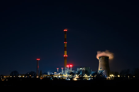 електростанція, ніч, illumnated, парові, вежа, енергія, промисловість