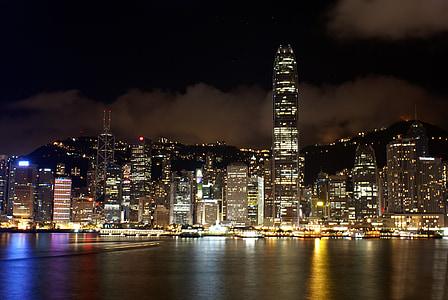 hongkong, view, skyline, city, cityscape, port, evening