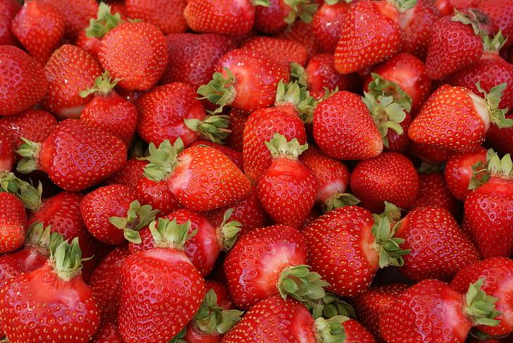 สตรอเบอร์รี่, สีแดง, ผลไม้, สตรอเบอร์รี่สีแดง, ดินแดงสตรอเบอร์รี่, ผลไม้สุก, หวาน