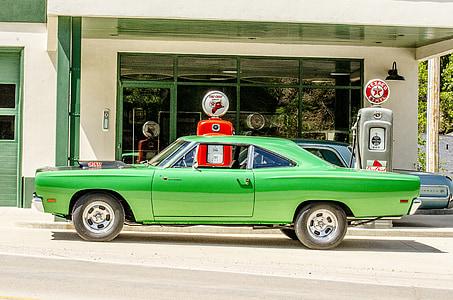 classic car, antique gas pump, green, lime green, vintage, retro, gas station