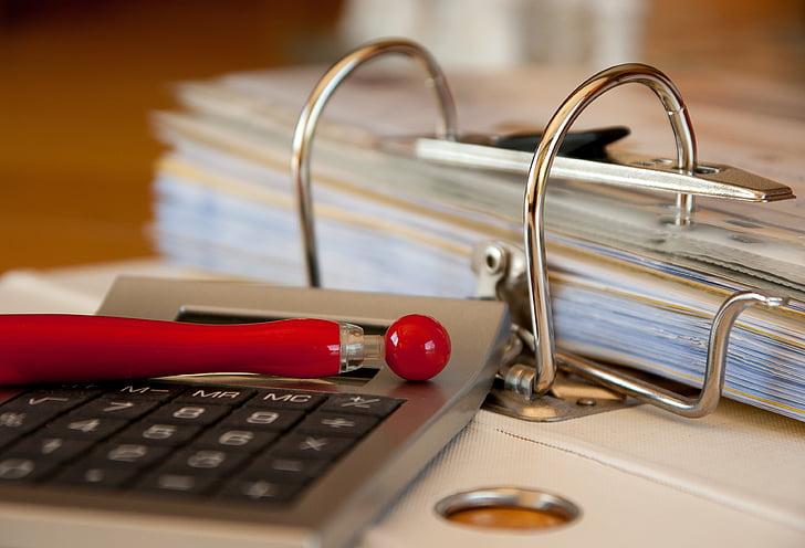 työkirjan, laskut, Kirjanpito, Arkisto, asiakirjat, Laskin, liiketoiminnan