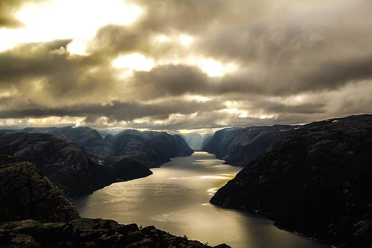 Norsko, Fjord, Lysefjord, vodní pólo, Hora, řeka, Příroda