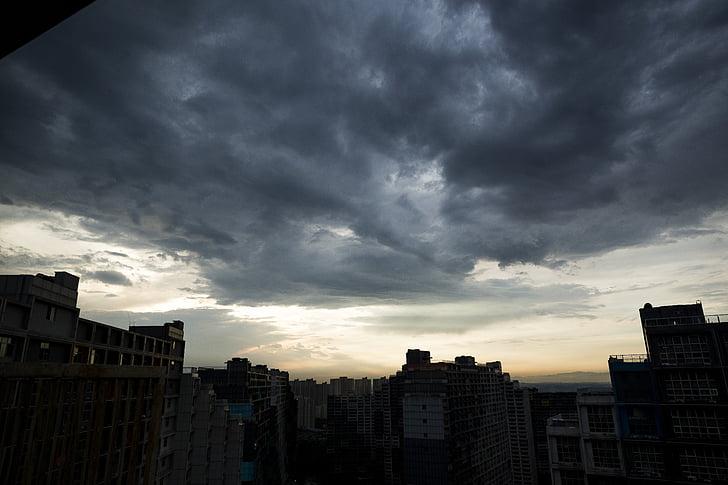 cel, núvol, núvols fosques, al capvespre