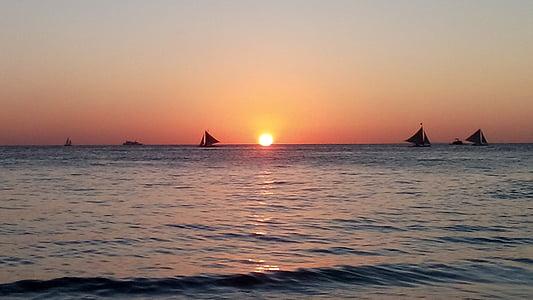 paplūdimys, Saulėlydis, Filipinai, vandenyno, dangus, Saulė, atostogų