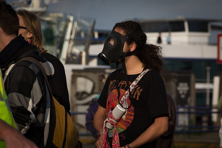 gas mask, protest, mass, crowd, violently, protest action, attack