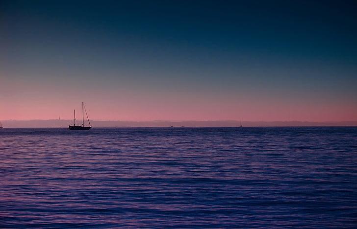 ship, ocean, sea, horizon, sunset, sunrise, nautical