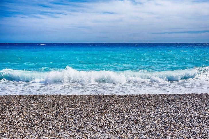tenger, szép, hullám, Dél-Franciaország, Franciaország, mediterrán, Côte d ' azur