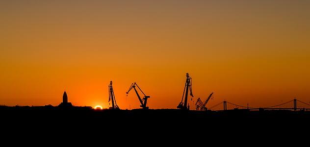 Göteborg, solnedgång, Orange, Sverige, visningar, vackert, färger