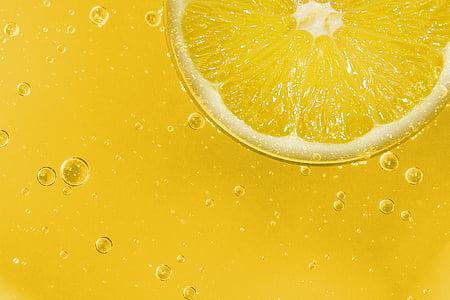 llimona, fruita, Agra, groc, rodanxa de llimona, refresc, fons