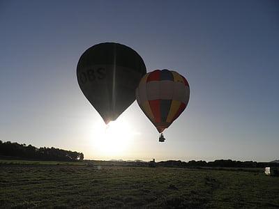 varmluftsballonger, ballonger, flytande, ballong, luft, heta, Sky