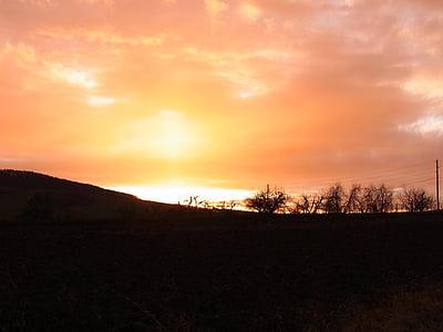 twilight, sun, dawn, sky, clouds, nature