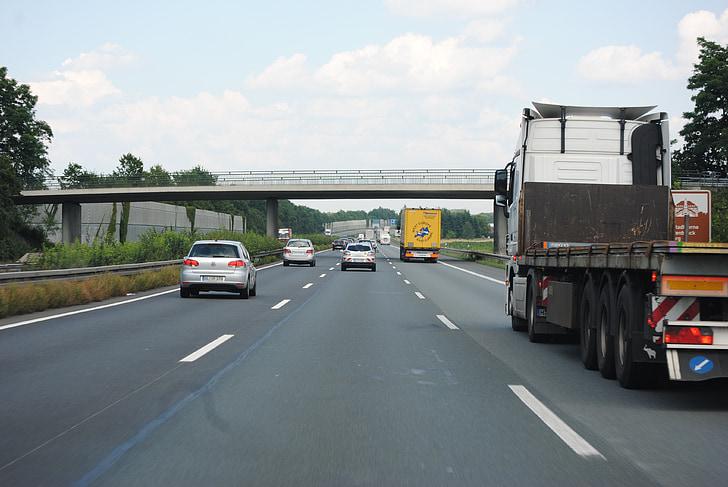 απομακρυσμένη κυκλοφορία, φορτηγό, μεταφορές εμπορευμάτων, υλικοτεχνική υποστήριξη, εθνικής οδού, Γερμανία, ασφάλτου
