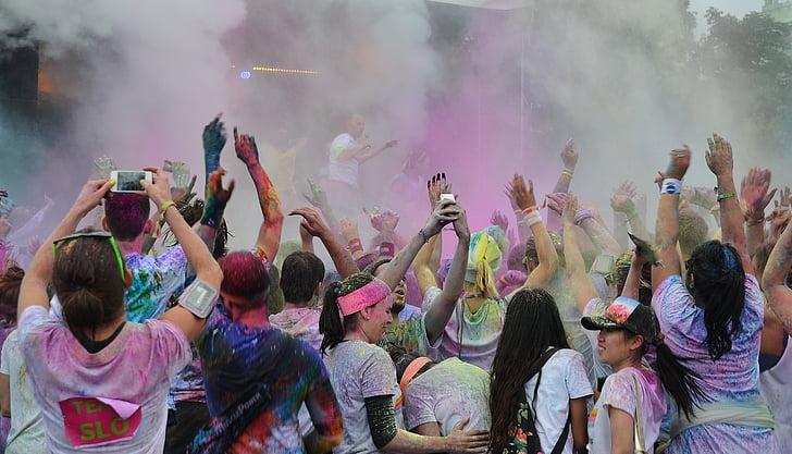 cursa festes de color, persones, colors, divertit, celebració, executar, feliç