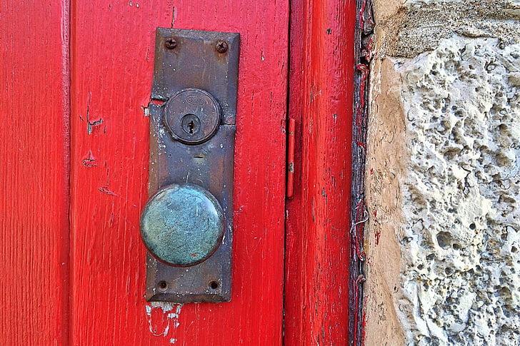 uks, punane, käepide, vana, sissepääs, ees, arhitektuur