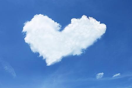 oblak, srce, nebo, plava, bijeli, ljubav, Sreća