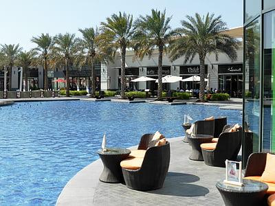 stranden, blått vann, stol, elegante, moro, Hotel, fritid