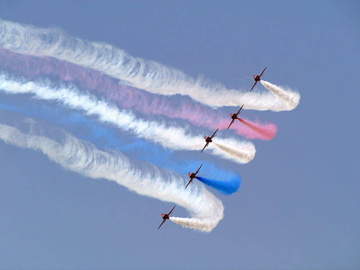 red arrows, airplanes, jets, planes, flying, formation, action