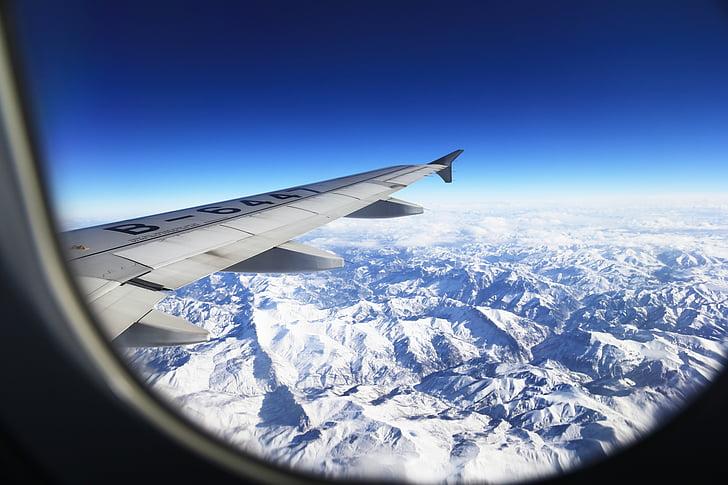 Tibet, plateau, Mont enneigé, montagnes, avion, Windows, aile