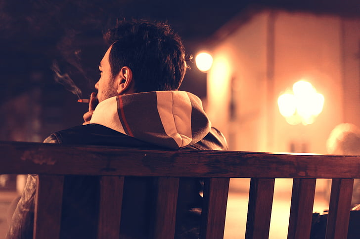 adult, alone, bench, cigarette, lonely, man, night