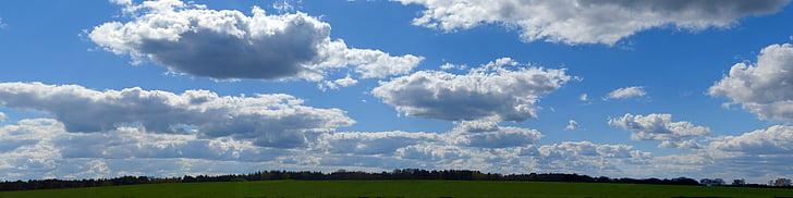 clouds, sky, panorama, landscape, blue sky, nature, blue