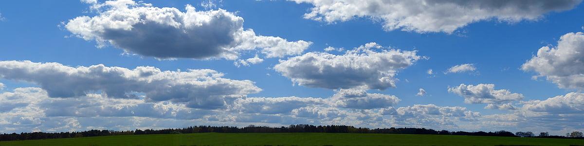 núvols, cel, panoràmica, paisatge, cel blau, natura, blau