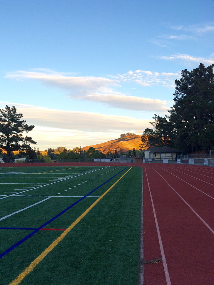 track and field, sunset, athletic field, field, track, race, path