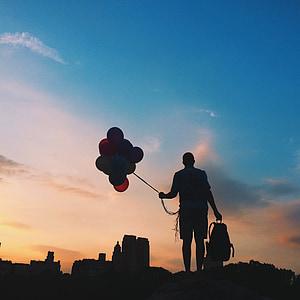 siluett, ballonger, soluppgång, person, Sky, färgglada, solnedgång