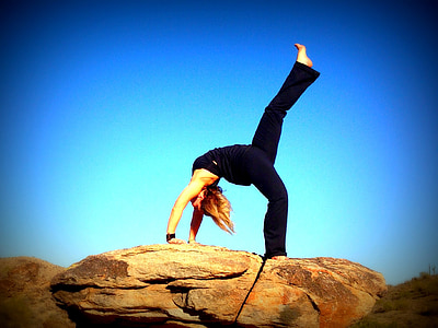 Yoga, Backbend, blå himmel, Fitness, kvinne, jente, Stretching