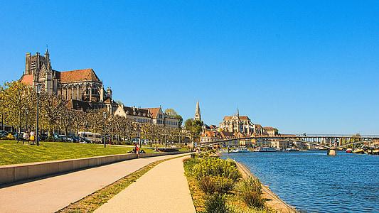 Burgundia, Auxerre, Panorama, Kota, pejalan kaki, Yonne, pemandangan