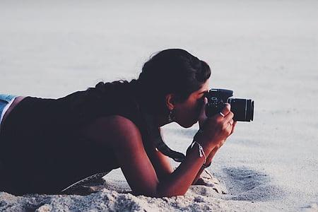 카메라, 소녀, 야외에서, 사람, 사진 작가, 모래, 촬영 사진