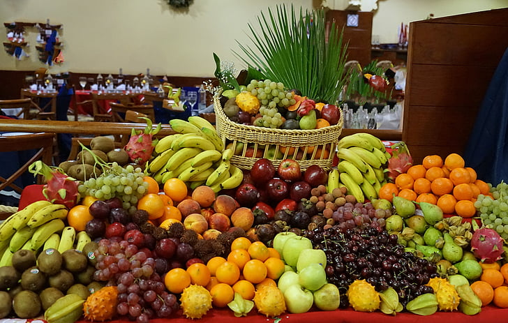 fruit, fruit buffet, bananas, oranges, apple, grapes, fruits
