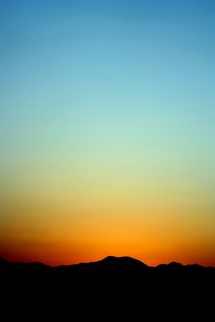 naturen, bergen, siluett, solen, lutning, Orange, blå
