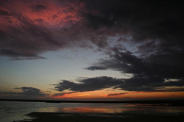 núvols, nit, posta de sol, cel fosc, cel, escena nocturna, marí