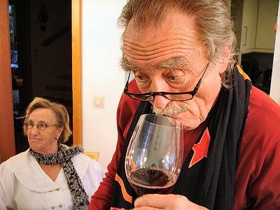 vin, dryck, vinglas, rött vin, alkohol, seniorer, Dra nytta av