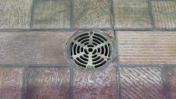 afvoer, vloer, tegels, drainage, oude, sanitair, Indoor