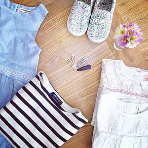 shoe, dress, flowers, primroses, barrettes, girls, spring