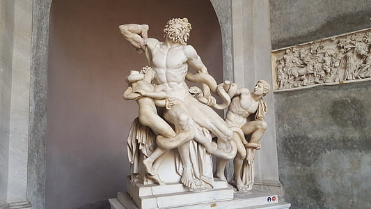 Italien, Vatikanen, Vatikanens museum of art, staty, konstverk, arkitektur, skulptur