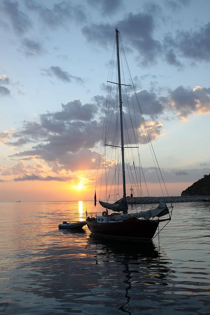vaixell, Mar, Porto, l'aigua, Alba, tranquil, Rada