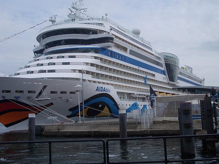 passagerarfartyg, fartyg, Östersjön, ship reser, AIDAblu, hamn, Aida