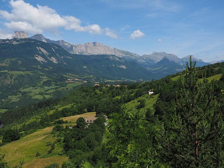 táj, idill, clelles, hegyek, Franciaország