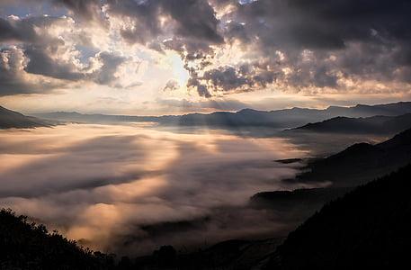 japan, kumamoto, caldera, somma, cloud, sea of clouds, aso